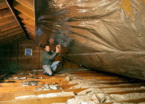 A radiant barrier installed in a Hampton attic