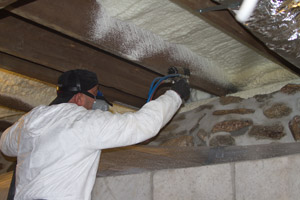 Spray Foam in the crawl space in Durham
